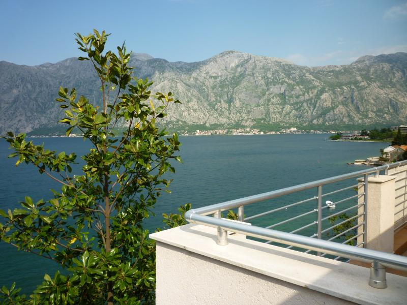 View from balcony with stunning views across the Bay of Kotor