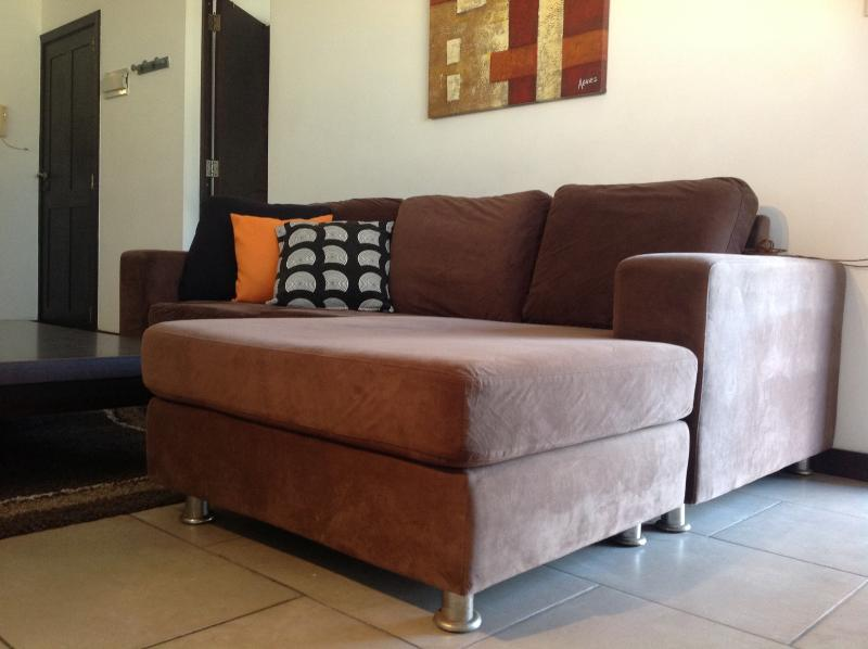Comfortable sofa bed in living area