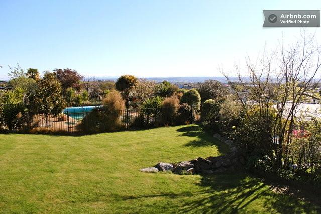 View from the deck to the swimming pool