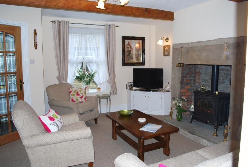 Lounge with gas wood burner stove - TV with integral DVD player