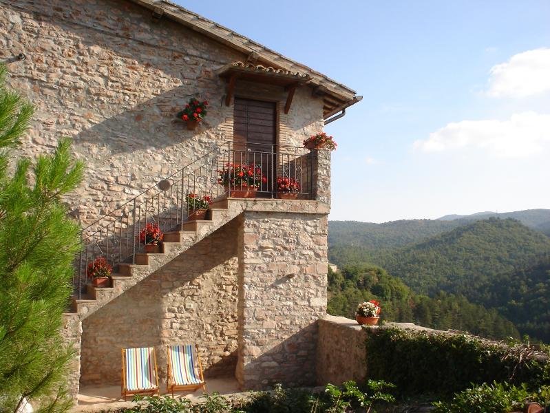 Front view of Casa La Torre - Belvedere and panoramic mountain views