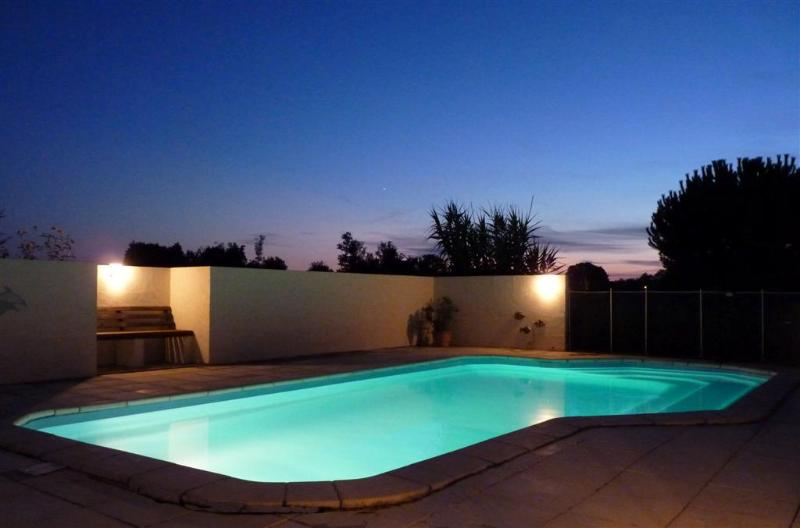 The secluded, solar heated pool ready for a midnight dip