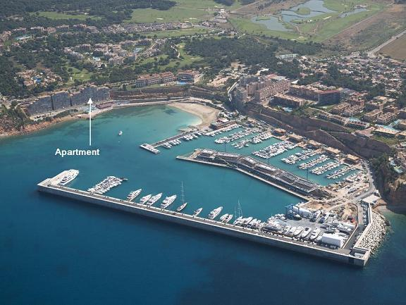 View of the Apartment from the air showing Port Adriano in the foreground.