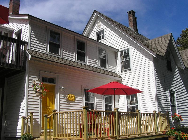A view of the house and deck