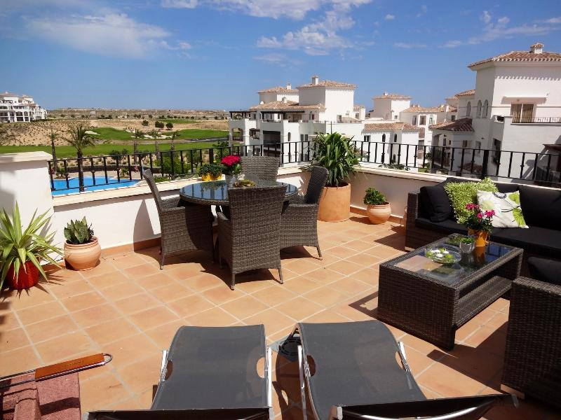 Stunning Private Terrace with views of the pool and 4th fairway