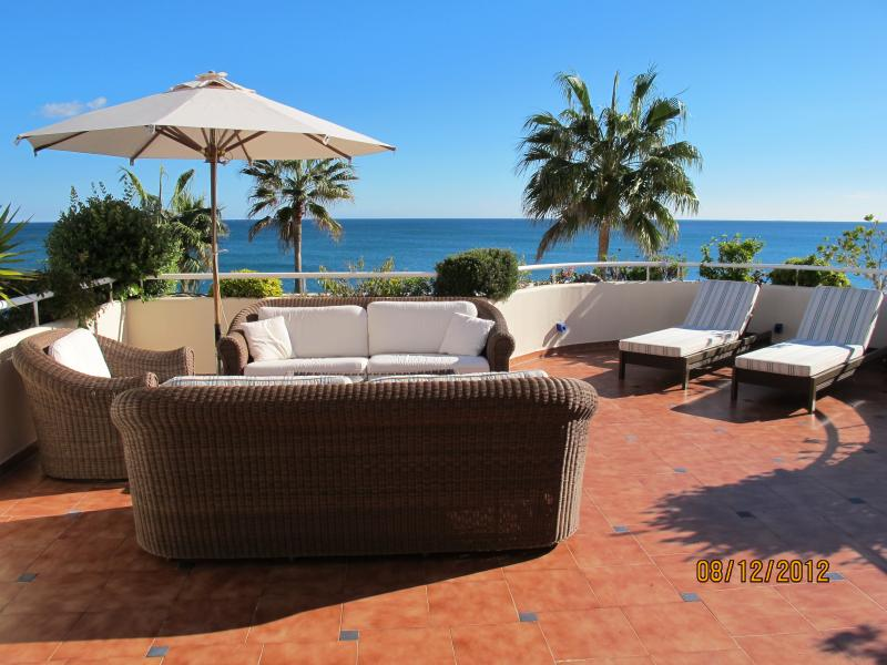 Patio with breath taking 180 degree sea view