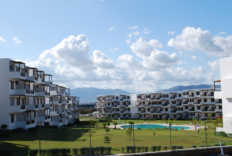 small complex with huge pool  in rural surroundings near sea. Our flat  has an