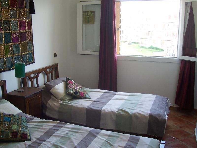twin bedded room overlooks the gardens