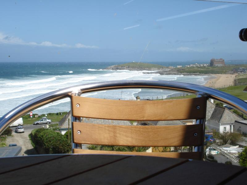 View across Fistral Beach from lounge and private balcony
