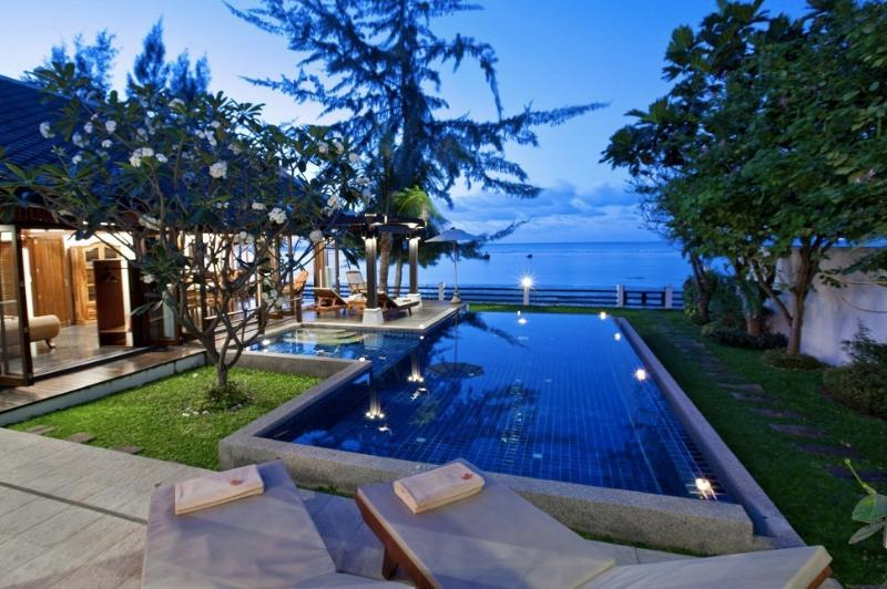 Looking out to sea across your private pool