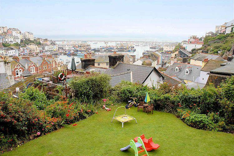 Outside garden play area and views across Brixham