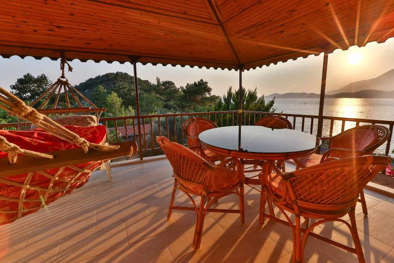 Sea and Sunset view from Top floor balcony of Villa Dundar