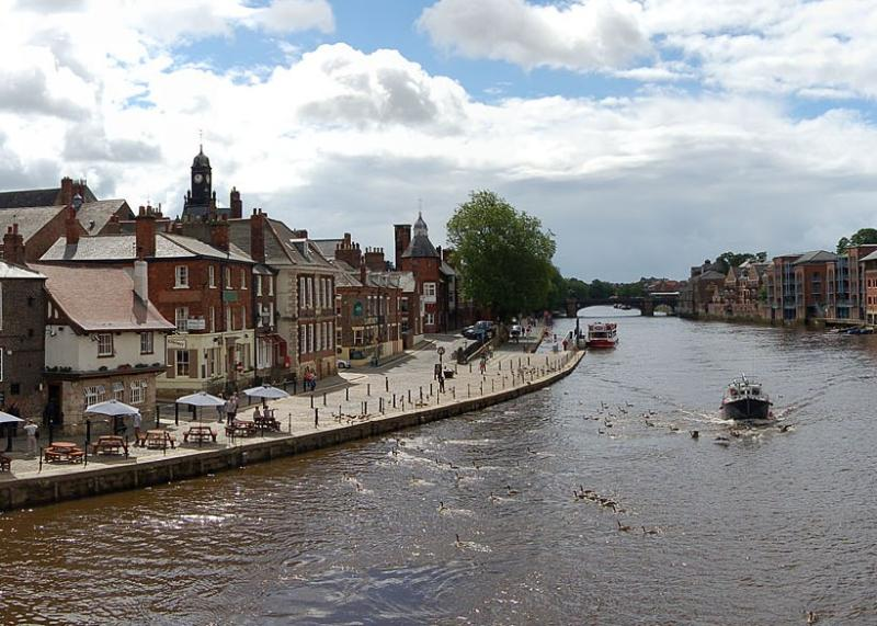 Emperors Wharf (on right opposite trees) with the famous Kings Arms viewed from Ouse Bridge