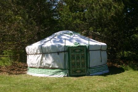 Meadow yurt sits in a quiet spot, sheltered by pine trees.
