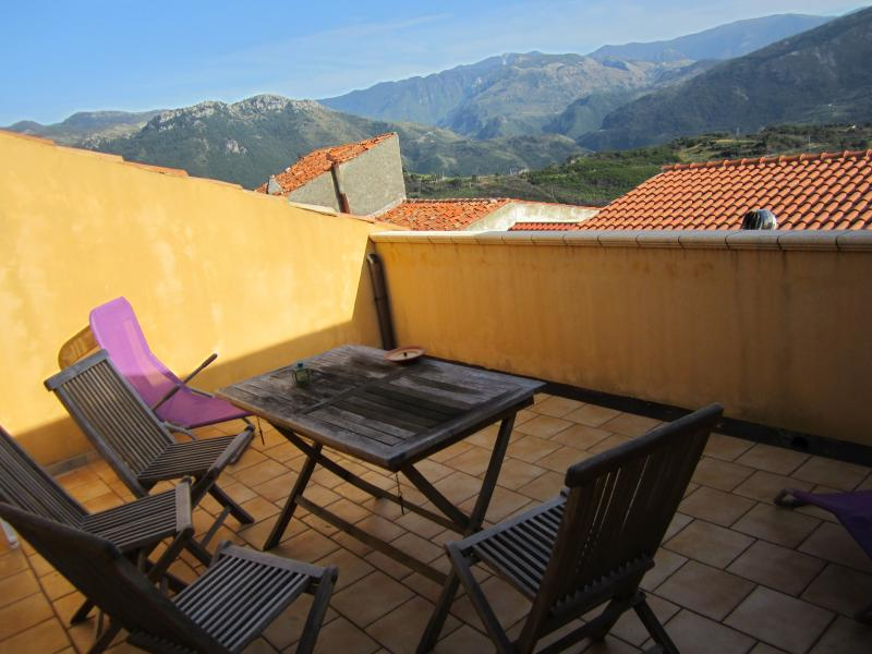 Our main terrace offers views of the mountains. Perfect for private sunbathing.