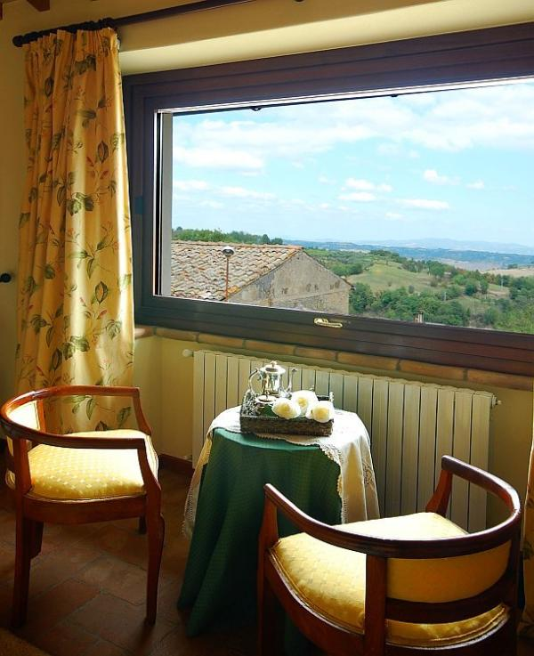 Scenic view over the Tiber Valley and the Umbrian mountains from bedroom