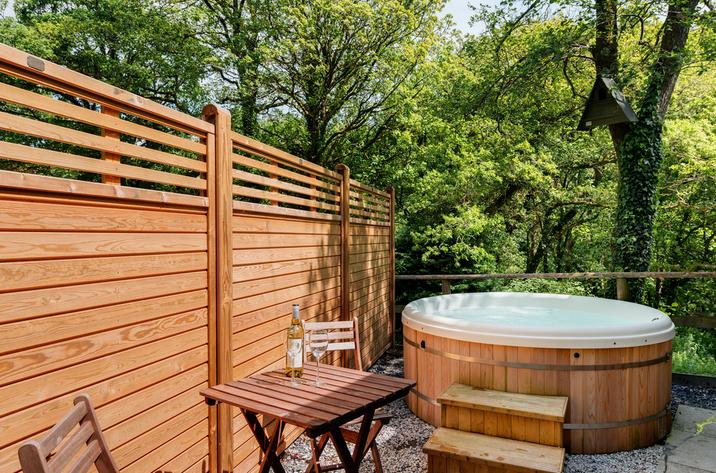 Decking area with hot tub