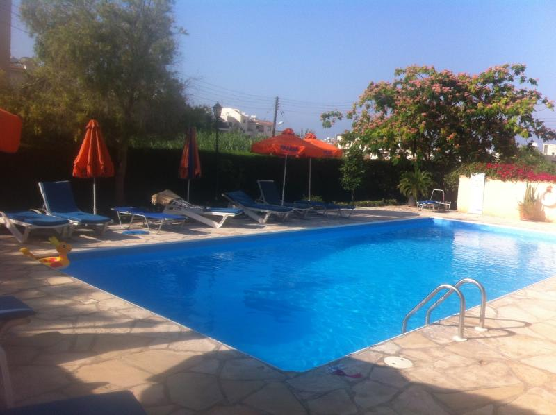 Lovely gated swimming-pool with sun-loungers and parasols