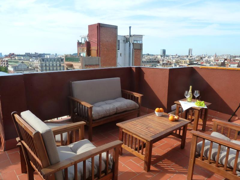 Homely and sunny terrace all the year round: to chill out or have a romantic dinner