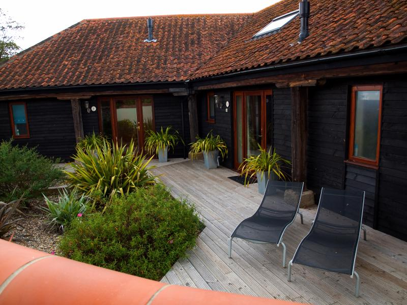 Rookery Barns front decking and garden.