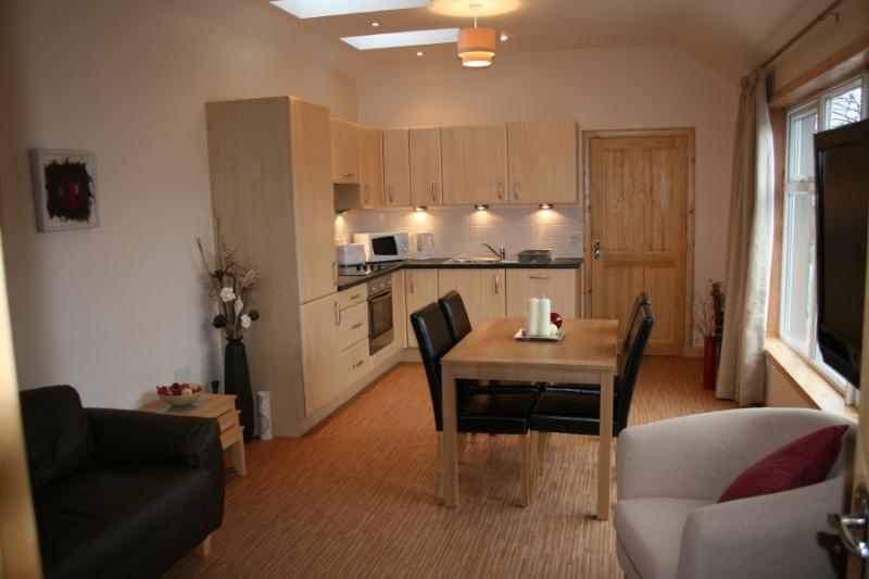 Modern roomy Living/Kitchen/Dining Area. Wide screen TV DVD and IPOD dock Wi Fi
