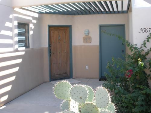 Private patio entrance w/ two doors