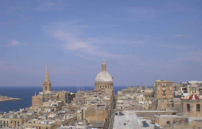 Valletta skyline from roof of building