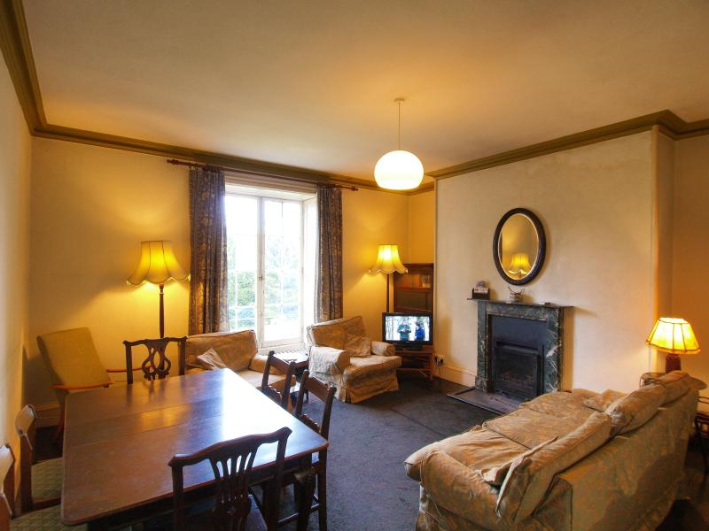 Spacious living-room/diner with 26' Sony TV, open log fire, and view down onto the garden.
