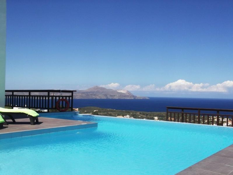 Pool area with panoramic views to the sea