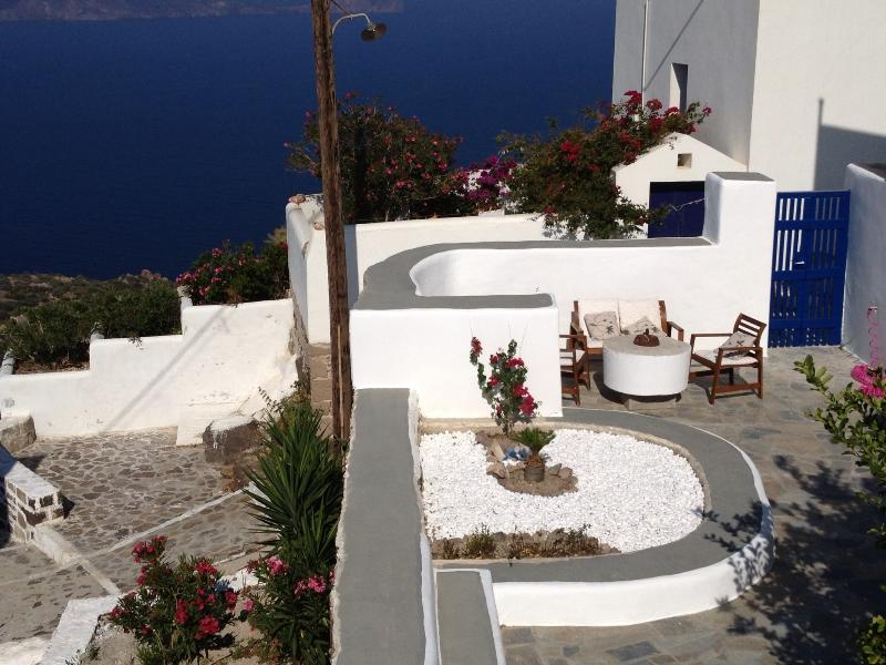View from balcony of terrace and stunning Aegean Sea