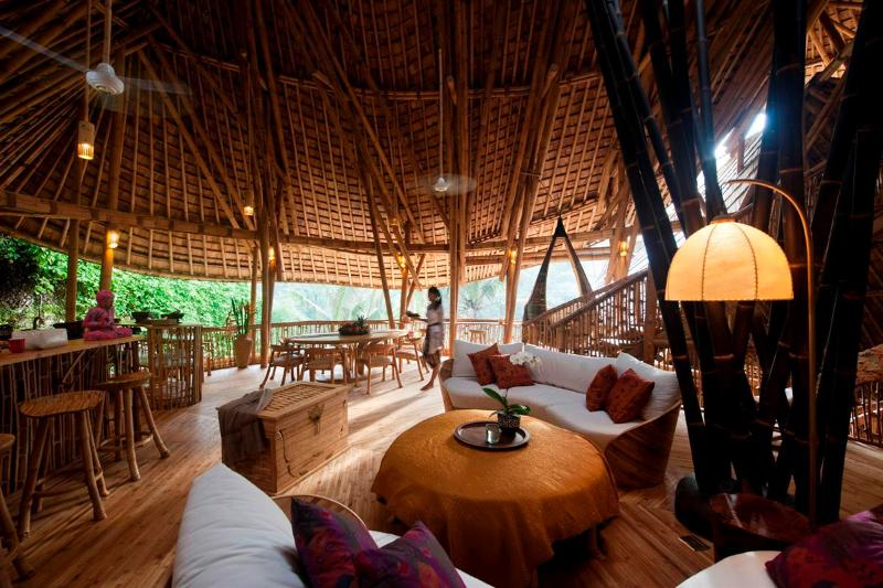 The bamboo architecture is breathtaking, & so are the river valley views. Ceiling fans visible t