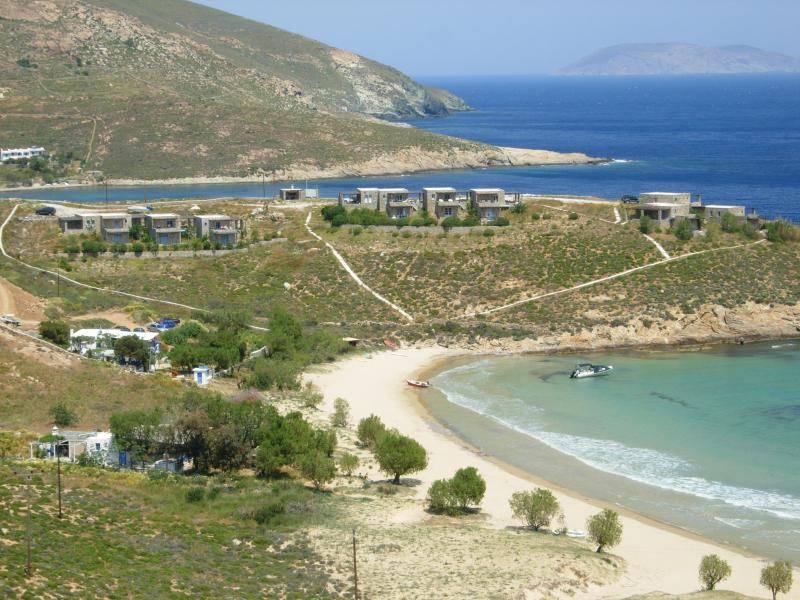 Stonehouses-2 storied villas at Psili Ammos-Serifos,1st complex on the left hand side