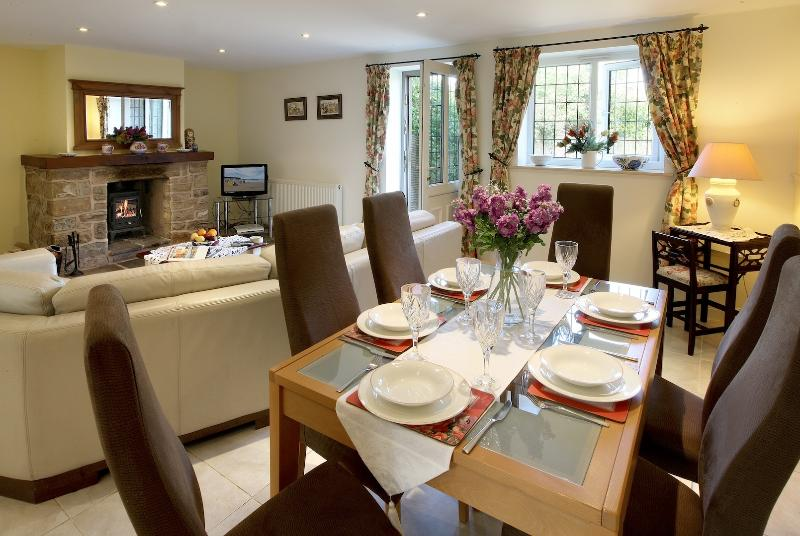Bright and light open living/dining area with contemporary furnishings, stone fireplace & woodburner