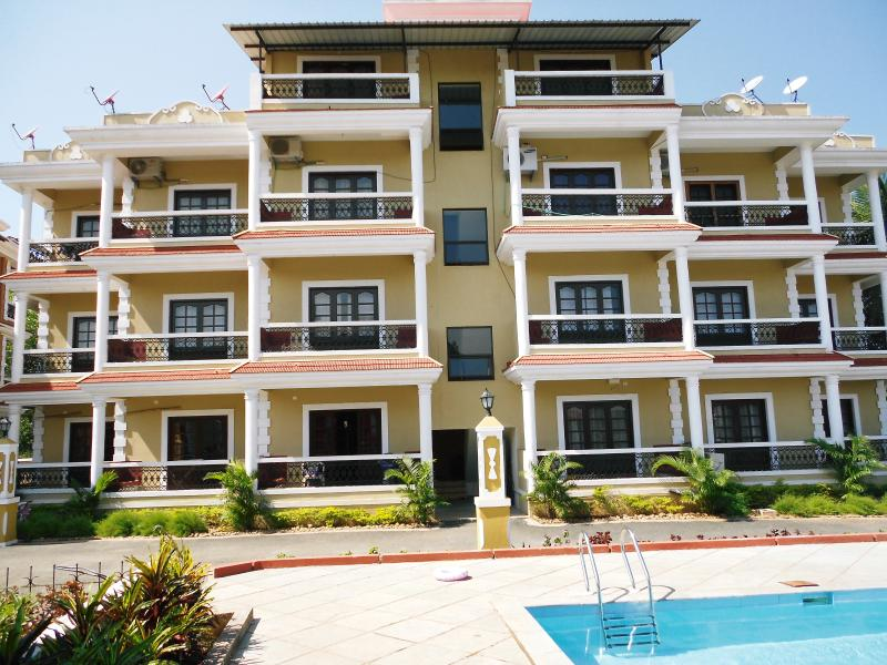 Goan Paradise Luxury Apartment second floor left side with five balconies.