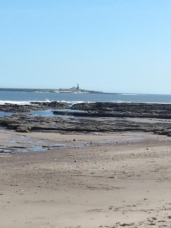 View out to Coquet Island from beach in front of Island View