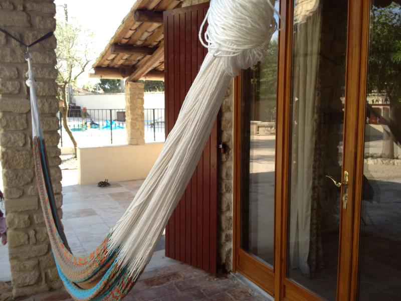The hammock can be put up for siestas or just relaxing any time of day