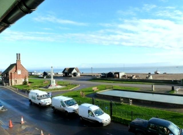 View from Dial Flat - Moot Hall, the beach, the sea and boating pond