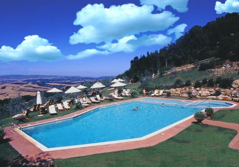 Outdoor swimming pool and panoramic view from the swimmingpool