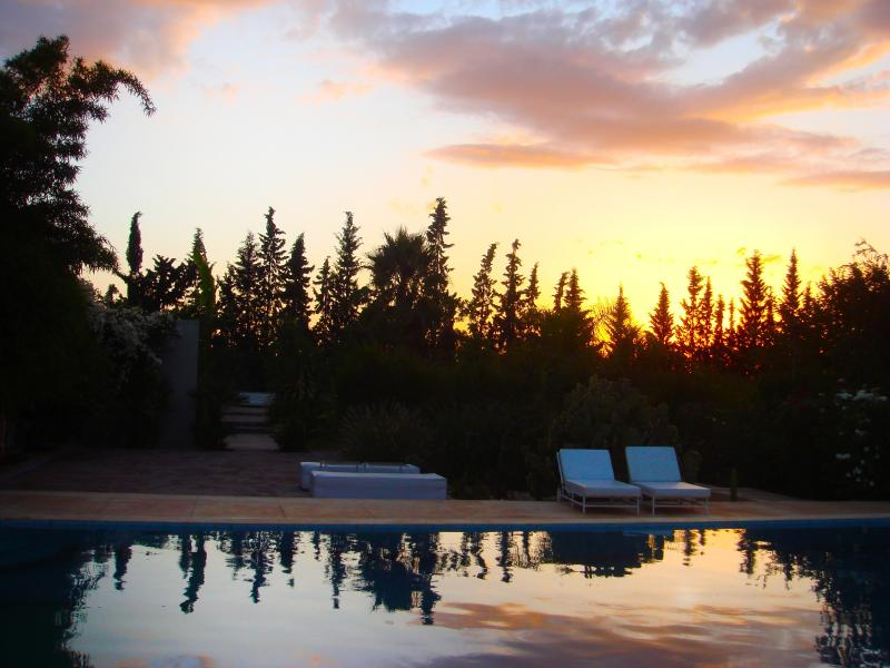 Sunset evening at the pool