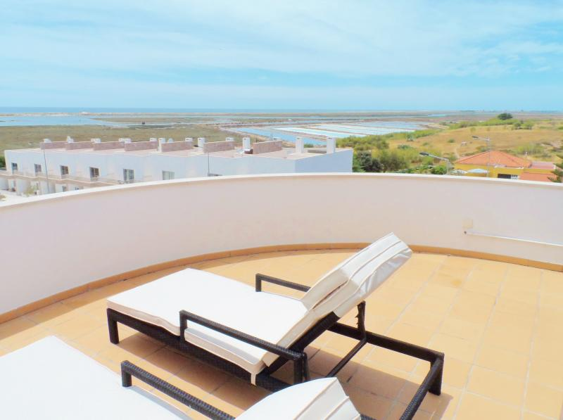 Roof terrace view from Jacuzzi and loungers