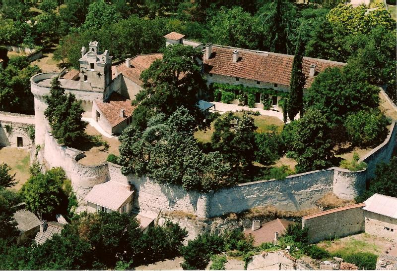Aerial photo of Chateau with ramparts and moat