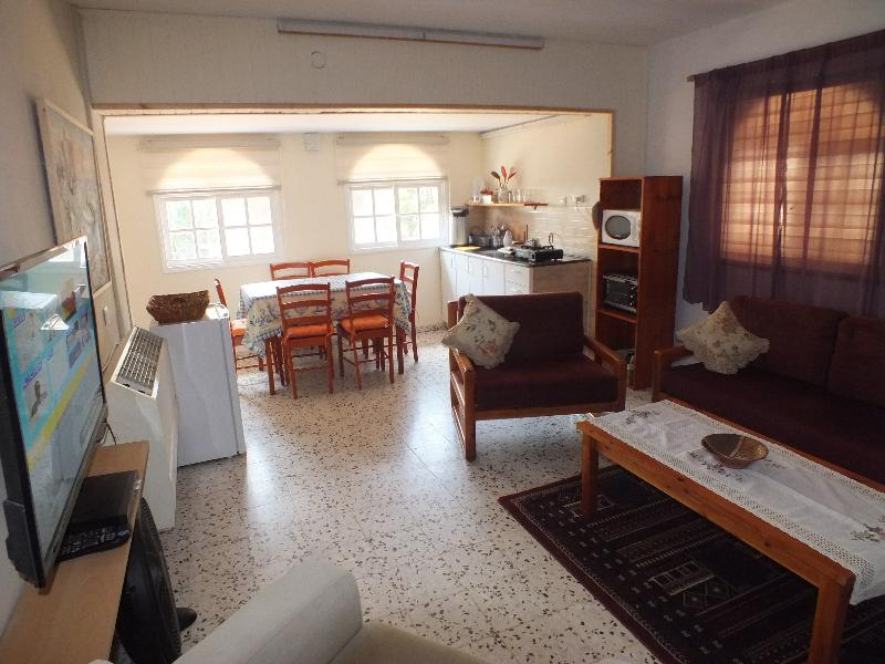 In the Jordan Valley Apartment, a large comfortable living room including kitchen