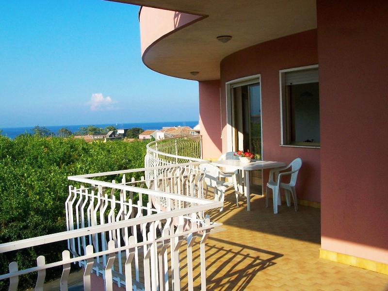 Large balcony with sea and Etna panoramic views