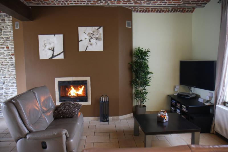Living room with wood fire, flat screen and bose sound system