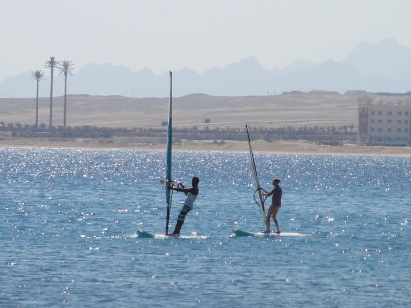 Windsurfing is on the safe, gentle sloping beach at the old town in shalh hasheesh