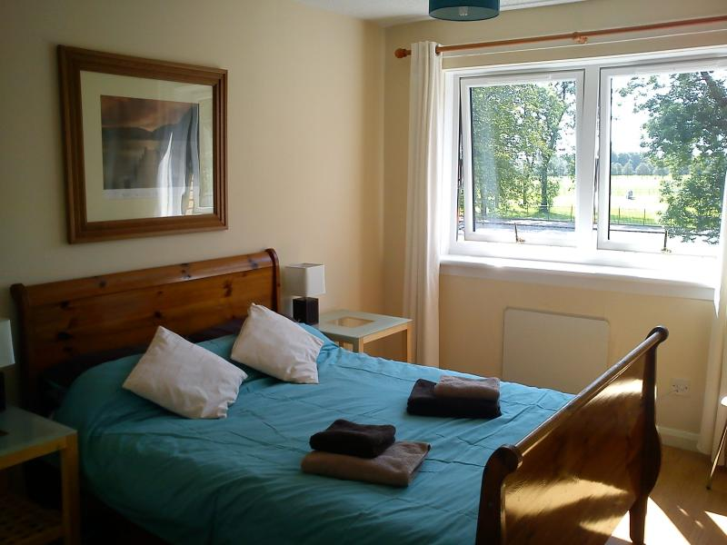 The double room has a fresh and bright feel and benefits from an outlook over Glasgow green.