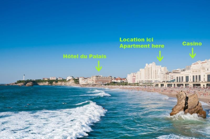 The apartment is located in the building in the centre, 30m from the Grand Plage!