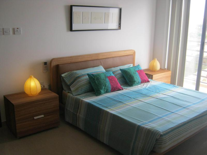 Bright main bedroom with own terrace and superb views