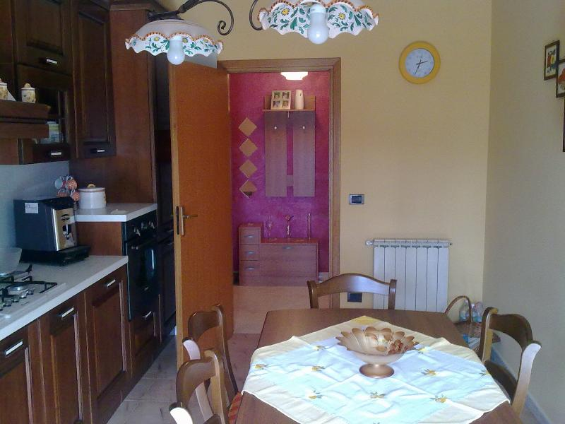 The kitchen is very big and very comfortable. It is always at your disposal with a big fridge.
