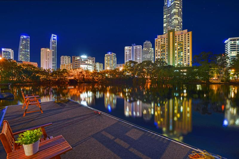 Nighttime skyline views from the pontoon, offering tranquility minutes from CBD